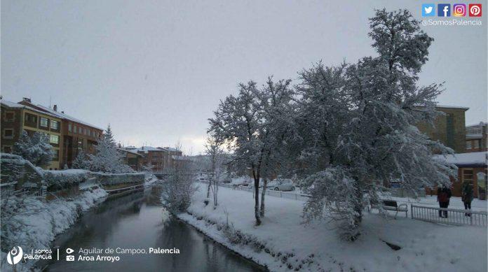 Nieve en Aguilar de Campoo Palencia. Nevada. Montaña Palentina
